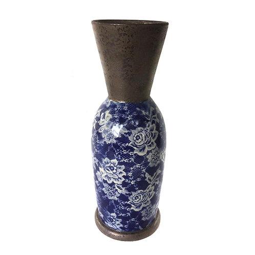 Vase fleurs col métallique grès vernissé