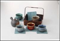 Ensemble theière et 5 tasses en céramique differentes couleurs