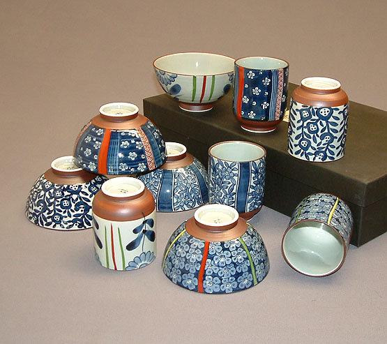 Ensemble 5 verres et 5 bols porcelaine bleue