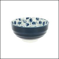 Bol japonais bleu intérieur fleurs
