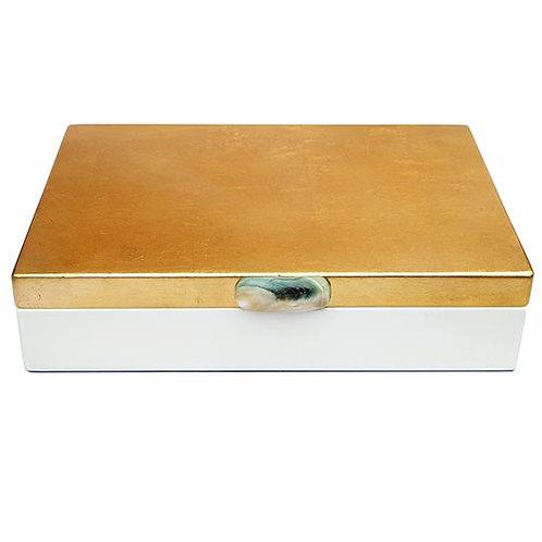 Laqué blanche et or