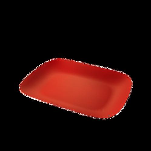 Moiré plateau Alessi rouge avec relief