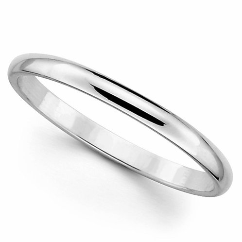 14k White Gold 2-mm Standard-fit Polished Wedding Band