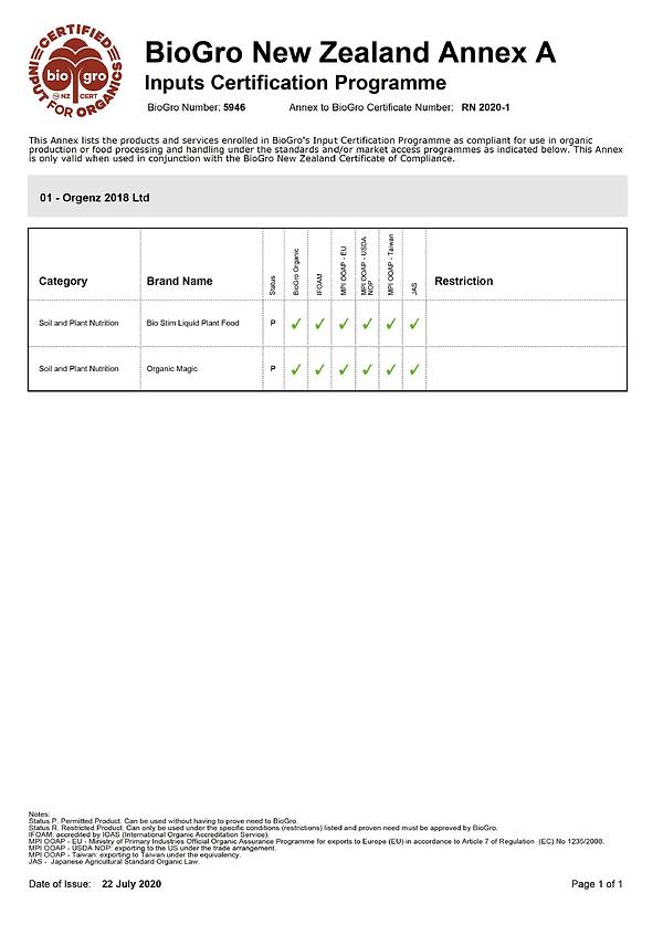 BioGro New Zealand Certificate for Organic Magic