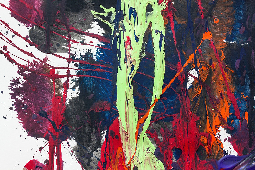 An abstract painting with various colours, textures and patterns on a white background