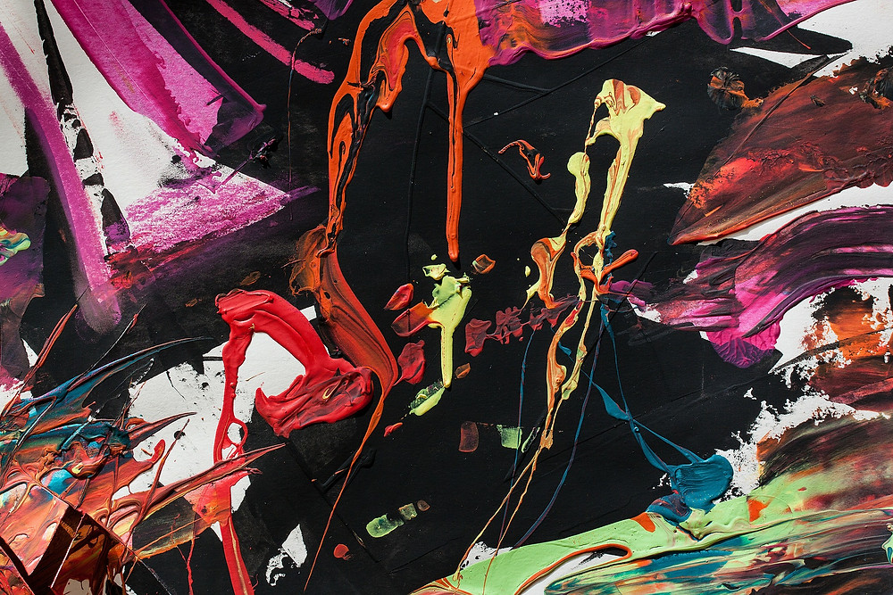 An abstract painting with various colours, textures and patterns on a mostly black background