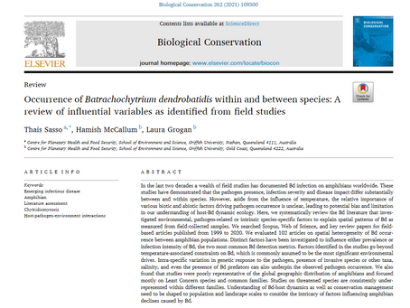 New paper! A review of variables influencing occurrence of Bd as identified from field studies
