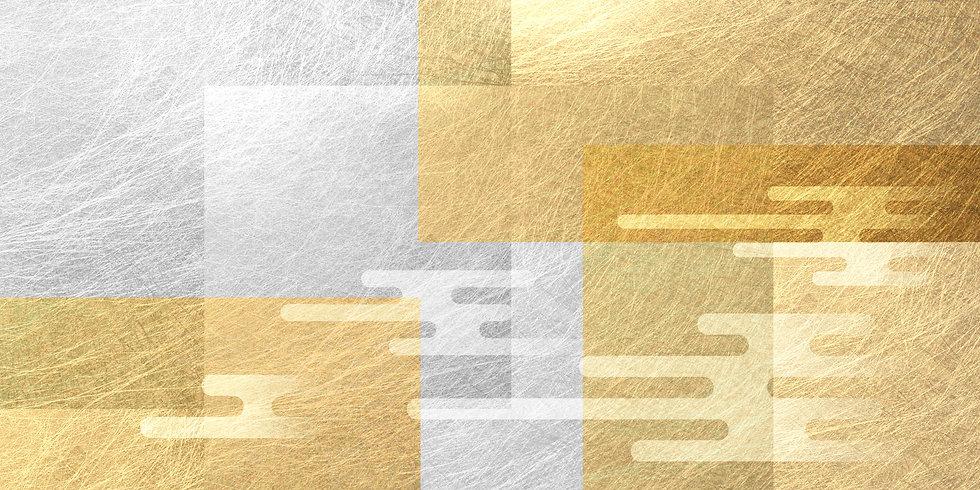 雲と金色の透明感のある幾何学的な面の背景  AdobeStock_3078123