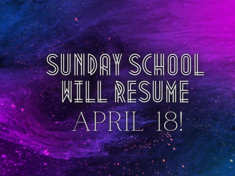 YOUTH WILL START SUNDAY SCHOOL APRIL 18!