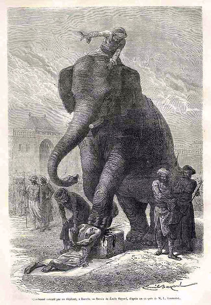 Death by Elephant, execution method, read more at shadezofblack.com