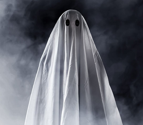 a person with a sheet on them to look like a ghost