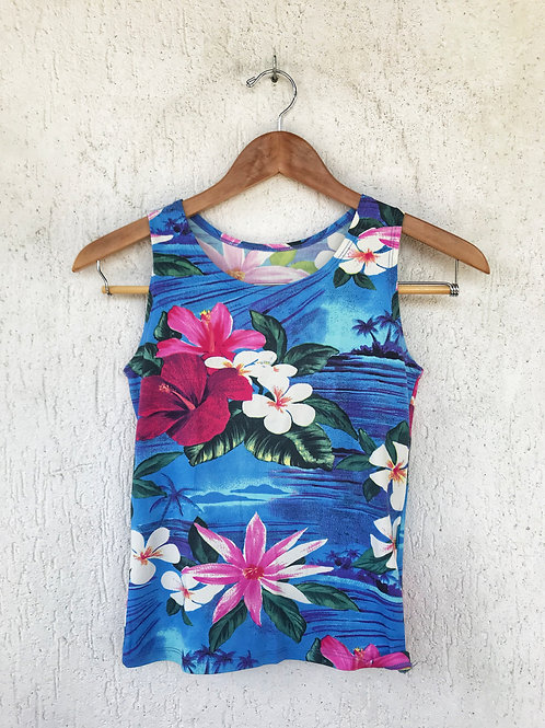 Blusa Azul Estampa Flores