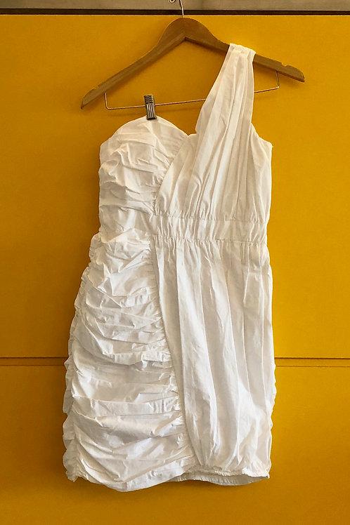 Vestido Branco Ombro Só Drapeado