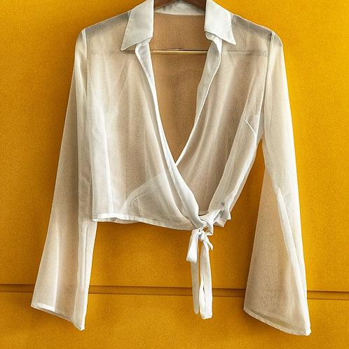 Blusa Branca Traspassada Transparência