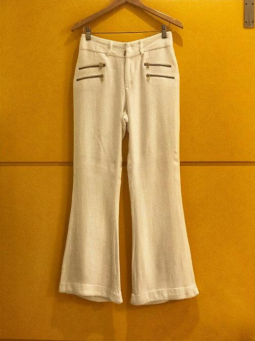 Calça Pantalona Branca Textura Ágatha