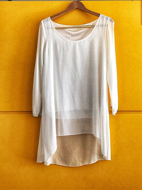 Blusão Transparente Branco Fenda
