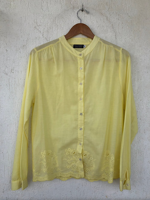 Camisa Amarela Claro Barra Renda Vazada