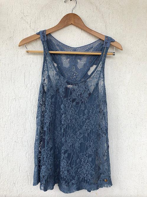 Blusa Renda Azul Maria Filó