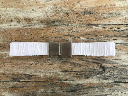 Cinto Elástico Branco Fivela Metal Tempo4