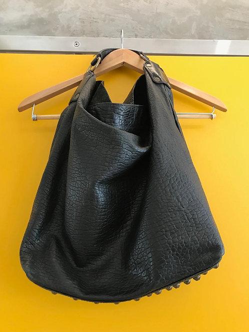 Bolsa Preta Couro Sacola Espaço Fashion