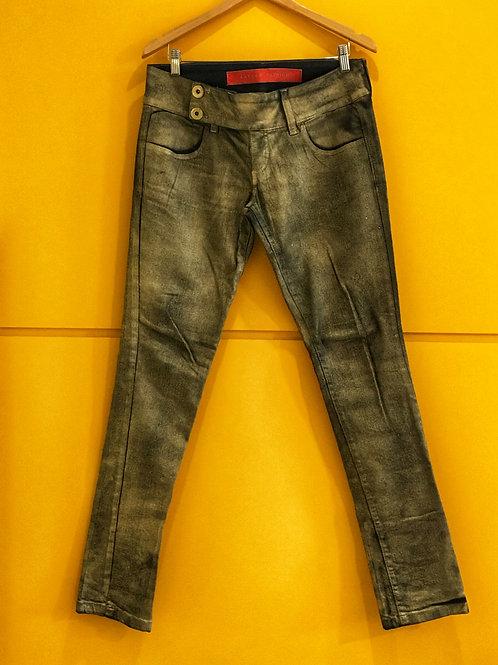 Calça Jeans Lavagem Metalica Espaço Fashion
