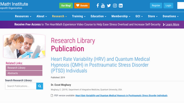Heart Rate Variability (HRV) and Quantum Medical Hypnosis (QMH) in Posttraumatic Stress Disorder (PT