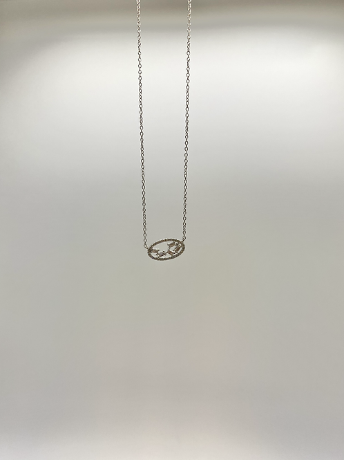 14k White Gold Oval Necklace with Baguette Diamonds