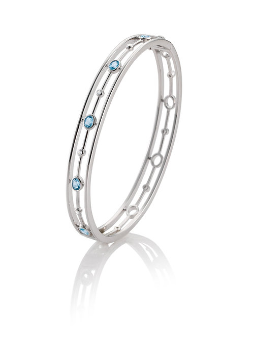 Sterling Silver Blue Topaz & Diamond Bangle