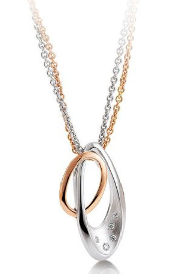 14k Pink & White Gold Double Loop Diamond Pendant