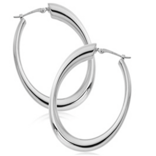 Sterling Silver Med Oval Tapered Hoops