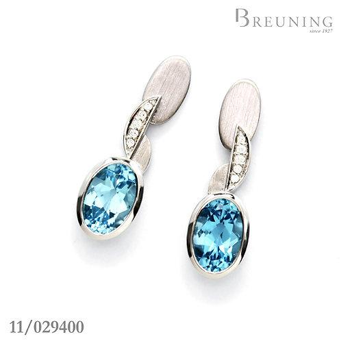 Sterling Silver Bezel Set Diamond & Blue Topaz Earrings