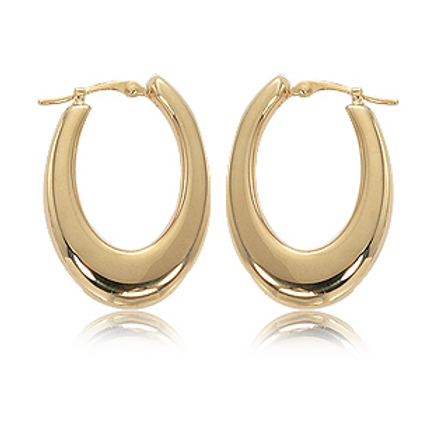 14k Yellow Gold Med Oval Flat Hoops