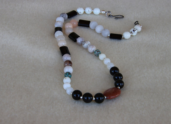 "Goldstone and Obsidian Necklace 19""Long"