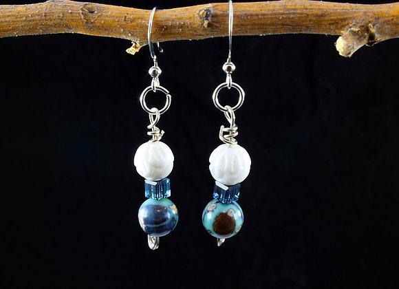 Aqua Terra Agate and Carved Shell Earrings