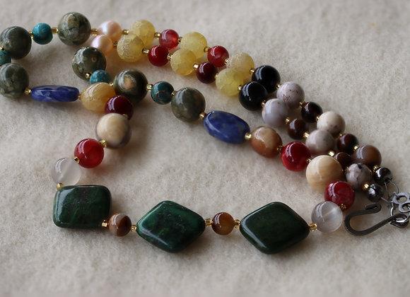 "African Jade Necklace, 22"" long"