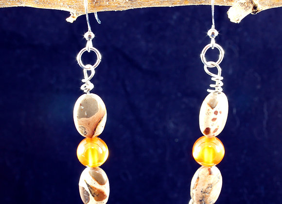 Carnelian and African Brown Rhyolite Earrings