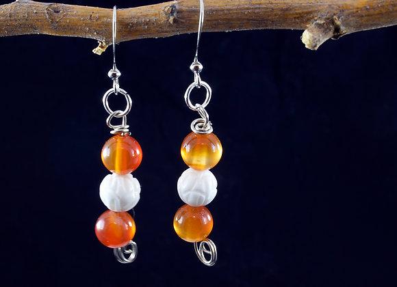 Carnelian & Shell Earrings
