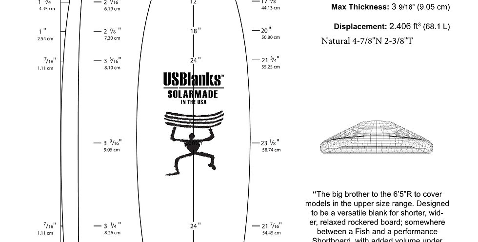 "US BLANKS 6'9""R SHORTBOARD BLANK"