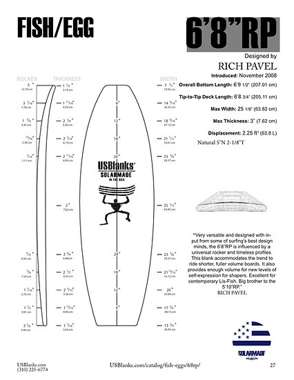"US BLANKS 6'8""RP FISH/EGG BLANK"