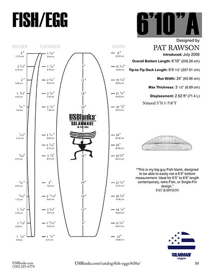 "US BLANKS 6'10""A FISH/EGG BLANK"