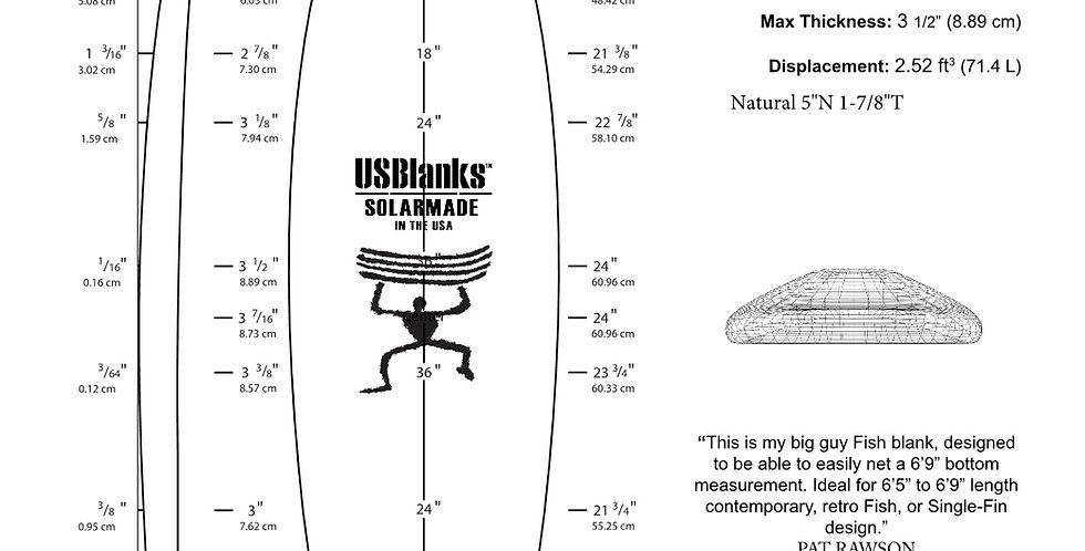 """US BLANKS 6'10""""A FISH/EGG BLANK"""