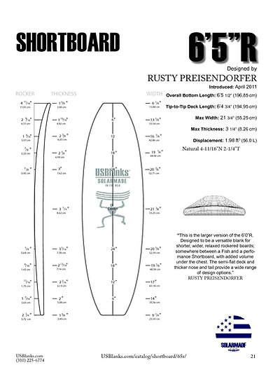 "US BLANKS 6'5""R SHORTBOARD BLANK"