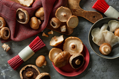 Brushed mushrooms
