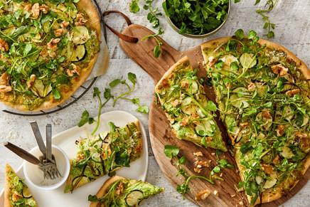 Pesto Zucchini Asparagus Pizza