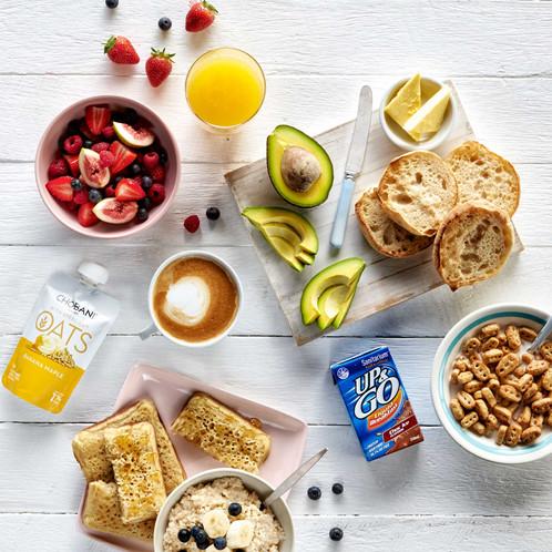 Healthy breakfast selection