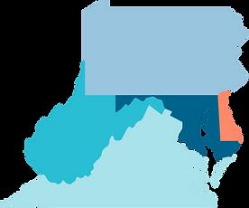 Maryland, Delaware, Pennsylvania, Virginia, West Virginia