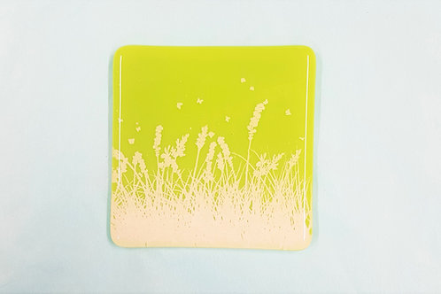 Wild meadow fused glass coaster