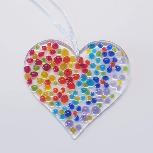 Takeaway Fused Glass Hanging Heart