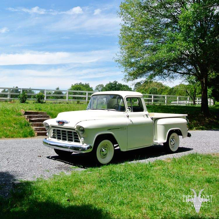 1955 Chevy to chauffeur bride, wedding party and guests