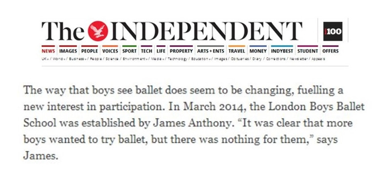 Boys Ballet School Independent newws